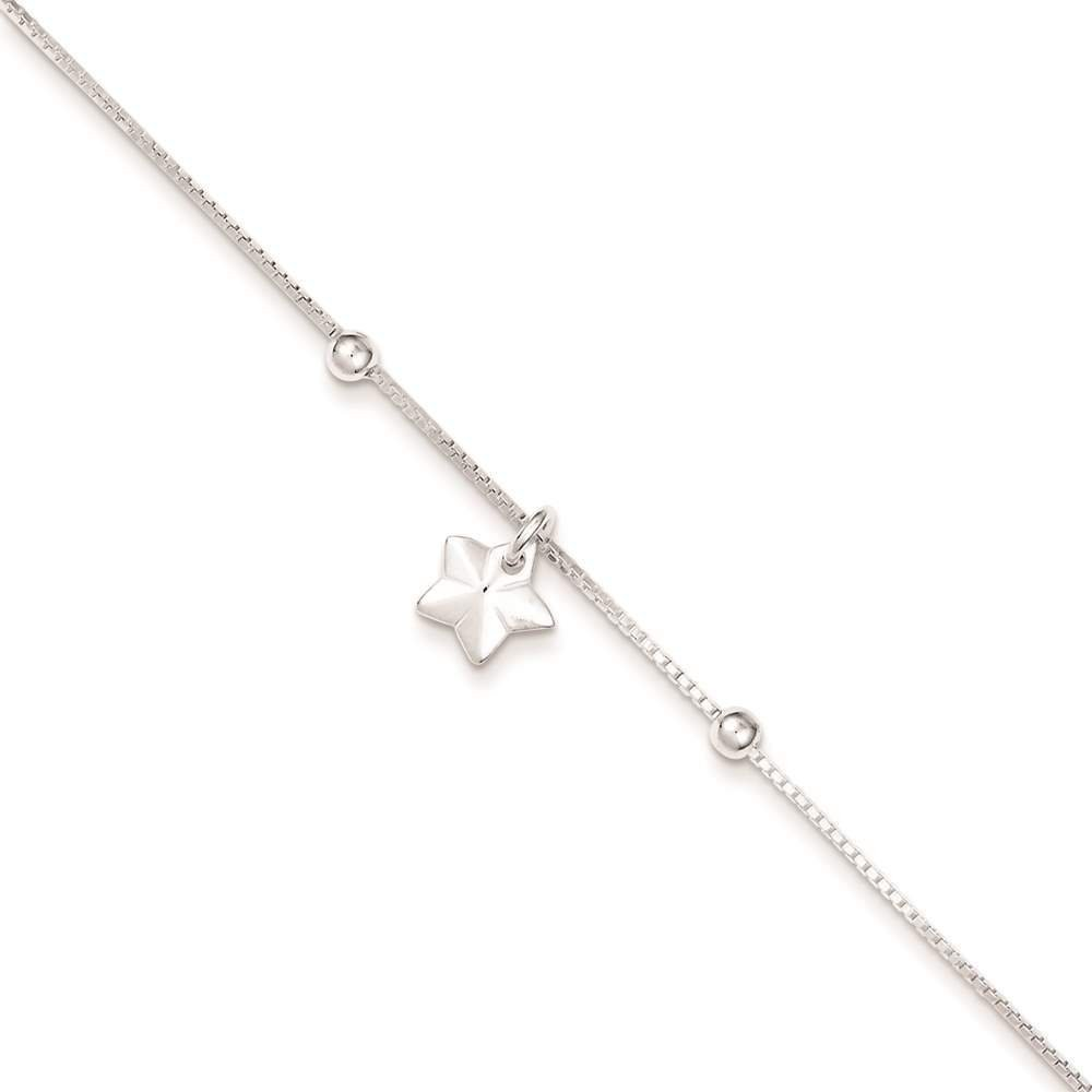 925 Sterling Silver Box Chain w/ Star Bracelet Anklet 9 inches