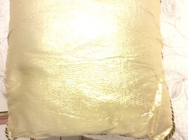 Decorative Pillows Square Metallic Gold Color Fabric With Black And Gold Bias. - $9.50