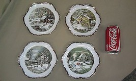 """9A61  Vtg Currier/Ives 4 Wall Hang 7"""" Plates Winter Scenes Scalloped Edges - $18.66"""
