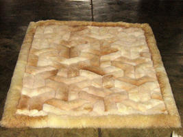 Alpaca fur rug with Y designs, from the Andes of Peru, 190 x 140 cm - $501.10