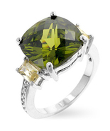 Ladies Peridot CZ And Champagne CZ Ring  Size 7... - $32.00
