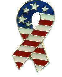 12 Pins - PATRIOTIC STARS AND STRIPES RIBBON , pin 4864