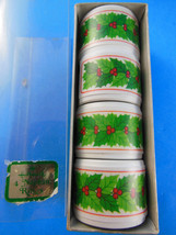 4 Ceramic Christmas Holly Napkin Rings NEW in B... - $5.04