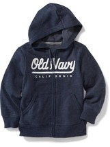 Old Navy Zip-Front Fleece Hoodie Toddler Boys Gray Blue Size 2T 3T 4T  5T NWT  - $22.99