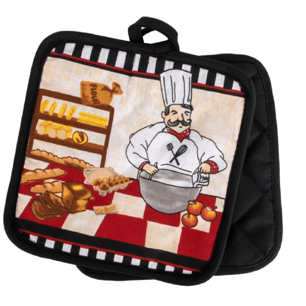 Primary image for KITCHEN POTHOLDERS Set of 2 Fat Chef Pot Holder French Cook Bakery Red Black