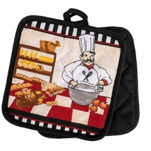 KITCHEN POTHOLDERS Set of 2 Fat Chef Pot Holder French Cook Bakery Red Black - $6.99