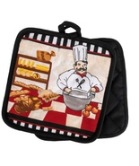 KITCHEN POTHOLDERS Set of 2 Fat Chef Pot Holder French Cook Bakery Red B... - $6.99
