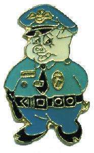 12 Pins - PIG DRESSED AS A COP , police lapel pin #4652