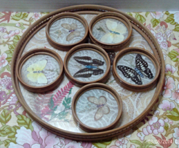 Vintage Bamboo & Glass Serving Tray With Coasters // Butterflies // Retro Bar - $16.99