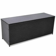 vidaXL Outdoor Storage Box Poly Rattan Black Entryway Chest Bench Organizer image 1