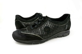 Mephisto Womens 9 M Runoff Sneakers Shoes Black Low Top Metallic Houndst... - $29.99