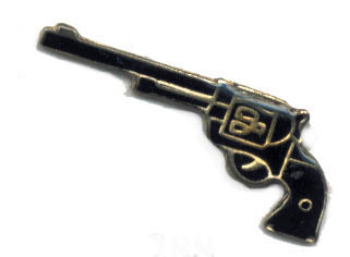 12 Pins - PISTOL , six shooter hat lapel gun pin #288