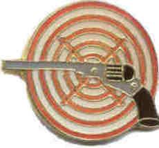 12 Pins - PISTOL w/ TARGET , hat gun cap lapel pin #159 - $9.00