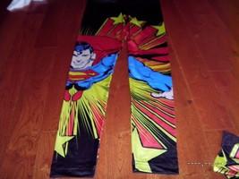 DC Superman Leggings Classic Comic Book Fashion Stars Juniors Pants small S - $10.88