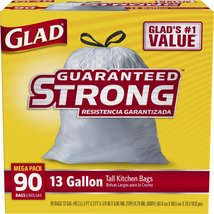 Glad Tall Kitchen Drawstring Trash Bags, 13 Gallon, 90 Count - $25.00