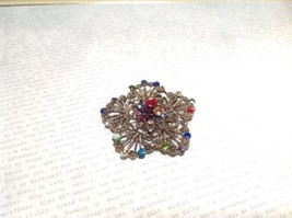 Gold Tone Multicolor Flower Brooch Pin Red Green Yellow With Swarovski Crystal image 2
