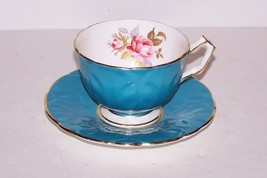 FABULOUS VINTAGE AYNSLEY ENGLAND TEAL BLUE WITH PINK ROSE AND GOLD CUP &... - $35.27