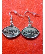 New England Patriots Double Sided Silver Football Dangle Earrings  - $7.99