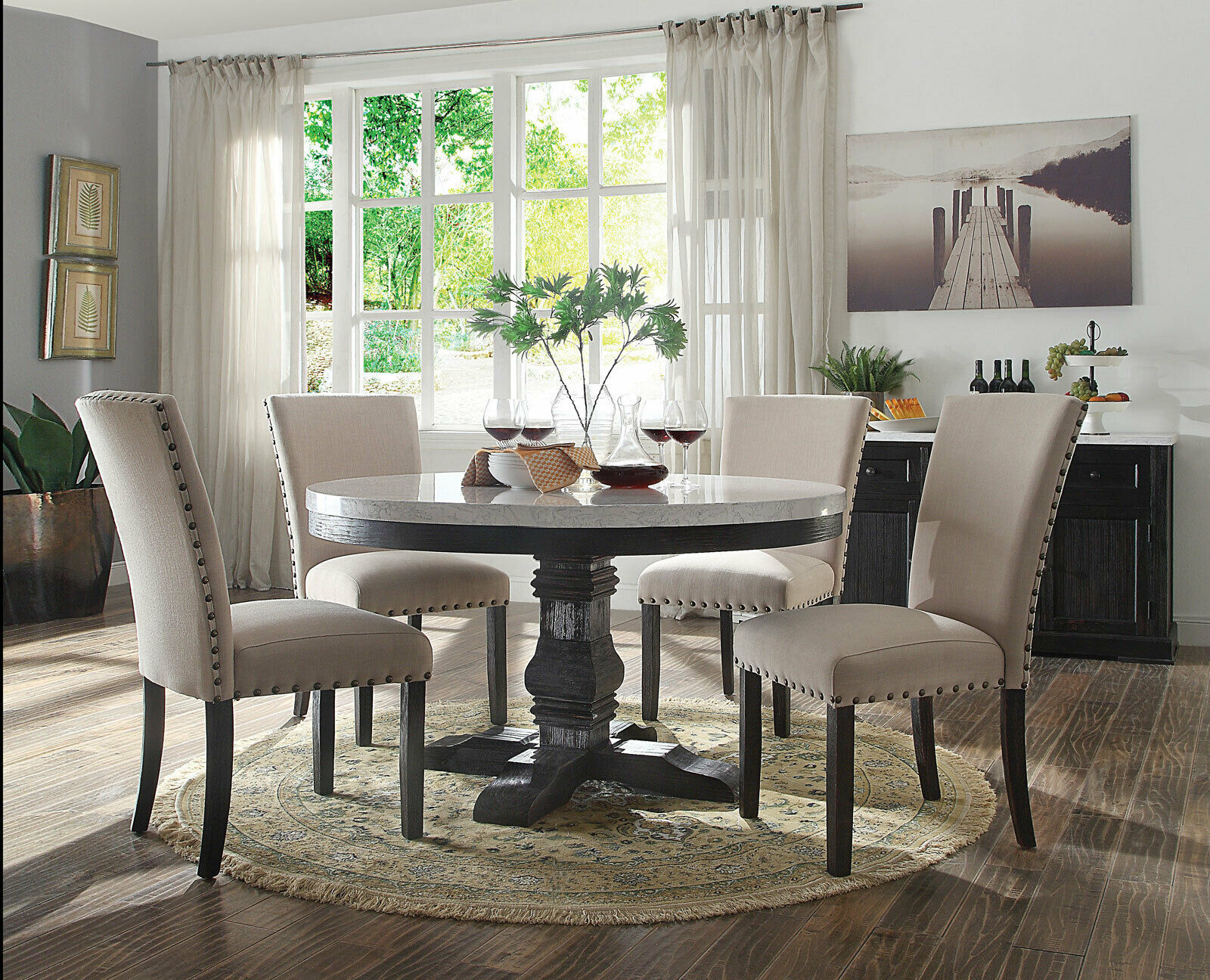 Gisela 5 Pieces Modern Dining Room Set Round White