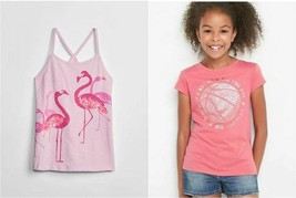 Gap Kids Girl Top 14 16 Pink Tee Earth Graphic Sequin Cami Flamingo Cott... - $14.99