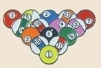 12 Pins - RACK OF POOL BALLS , player lapel pin sp095