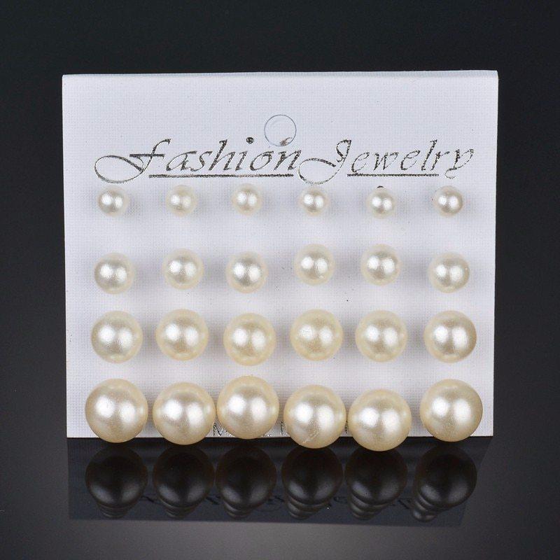 BAHYHAQ - 12 Pearl Earrings Set for Women Gift jewelry set