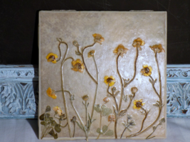 "6""x6"" Yellow Wavy Wild Flower Ceramic Coaster - $15.00"