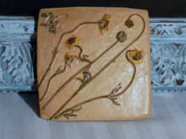 """Little Squiggly Yellow Wildflower 4""""x4"""" Ceramic... - $15.00"""