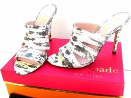 NWT $325 Kate Spade Fission White Black Tejus Lizard Leather Slide Heels US 8.5 - $86.50
