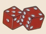 12 Pins - RED DICE , hat tac lapel pin sp297