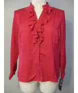 Elementz Dark Strawberry Ruffled Blouse XL NWT - $16.00