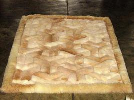 Alpaca fur rug with Y designs, from the Andes of Peru, 300 x 200 cm - $1,280.80