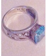 Estate Ladies AVON Sterling Silver 925 Blue Ring Size 9 - $39.59