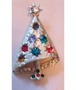 Beautiful Christmas Jeweled Tree Pin Brooch Gold-tone Vintage - $15.95