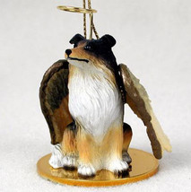 SHELTIE ANGEL DOG CHRISTMAS ORNAMENT HOLIDAY Figurine Statue Tricolor Sh... - $12.38