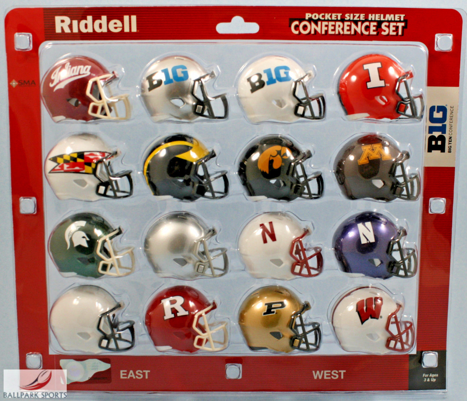 "BIG TEN 10 CONFERENCE- Riddell NCAA ""SPEED"" Pocket Pro Helmet Set (2016)"