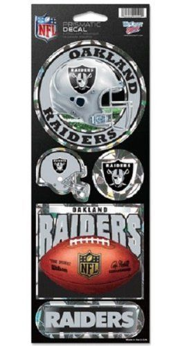 OAKLAND RAIDERS PRISMATIC HOLOGRAPH STICKER DECAL SHEET OF 5 NFL FOOTBALL