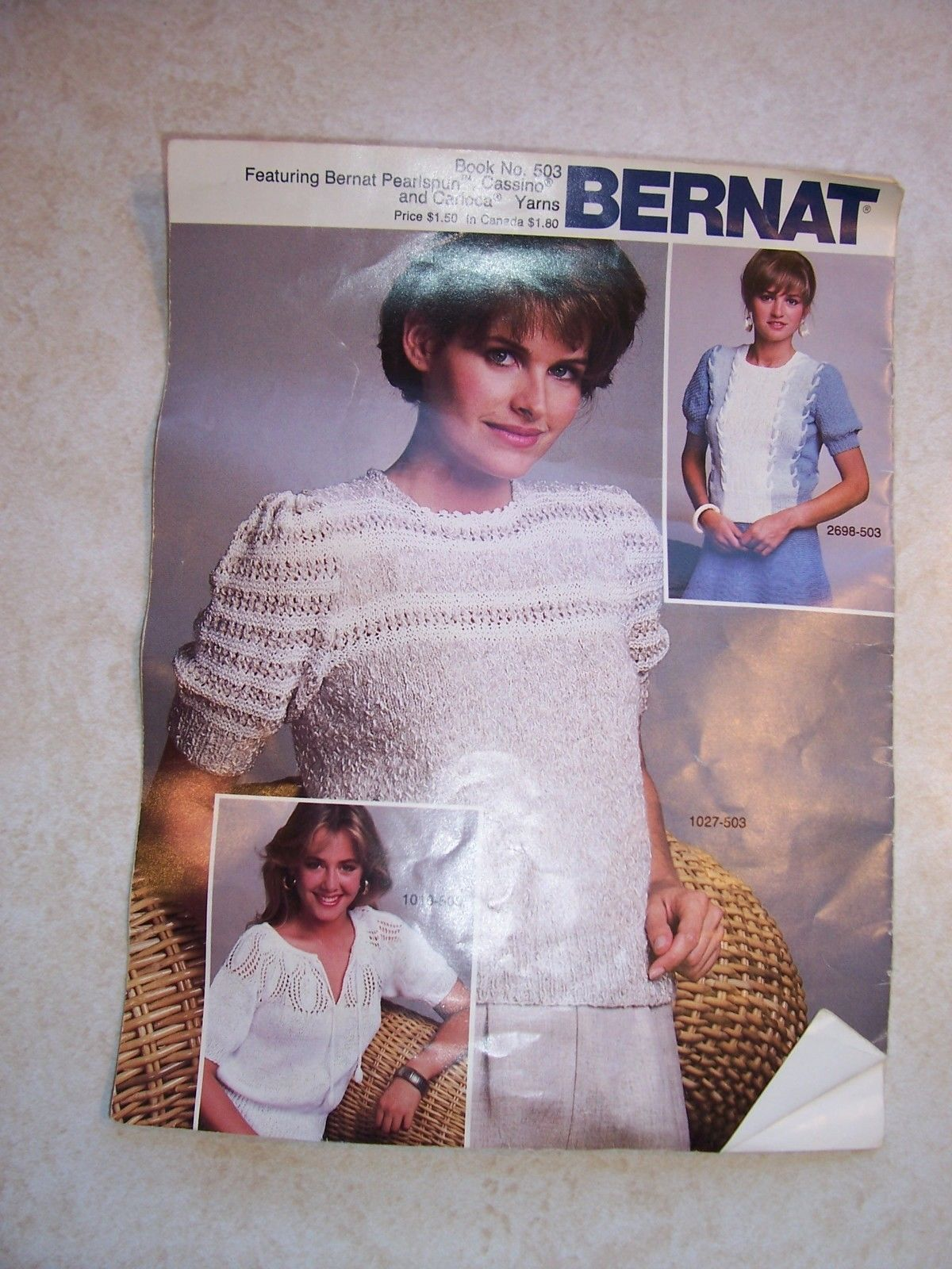 Vintage Bernat Kniting Instructions Book No. 503   Dated copyright 1982