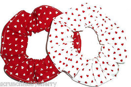 Red and White Hearts Fabric Hair Scrunchies by Sherry Ponytail Lot of 2 - $12.95