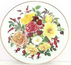 Majesty Roses Golden Aura Collector Plate Floral Shrub Franklin Mint Vintage - $59.95