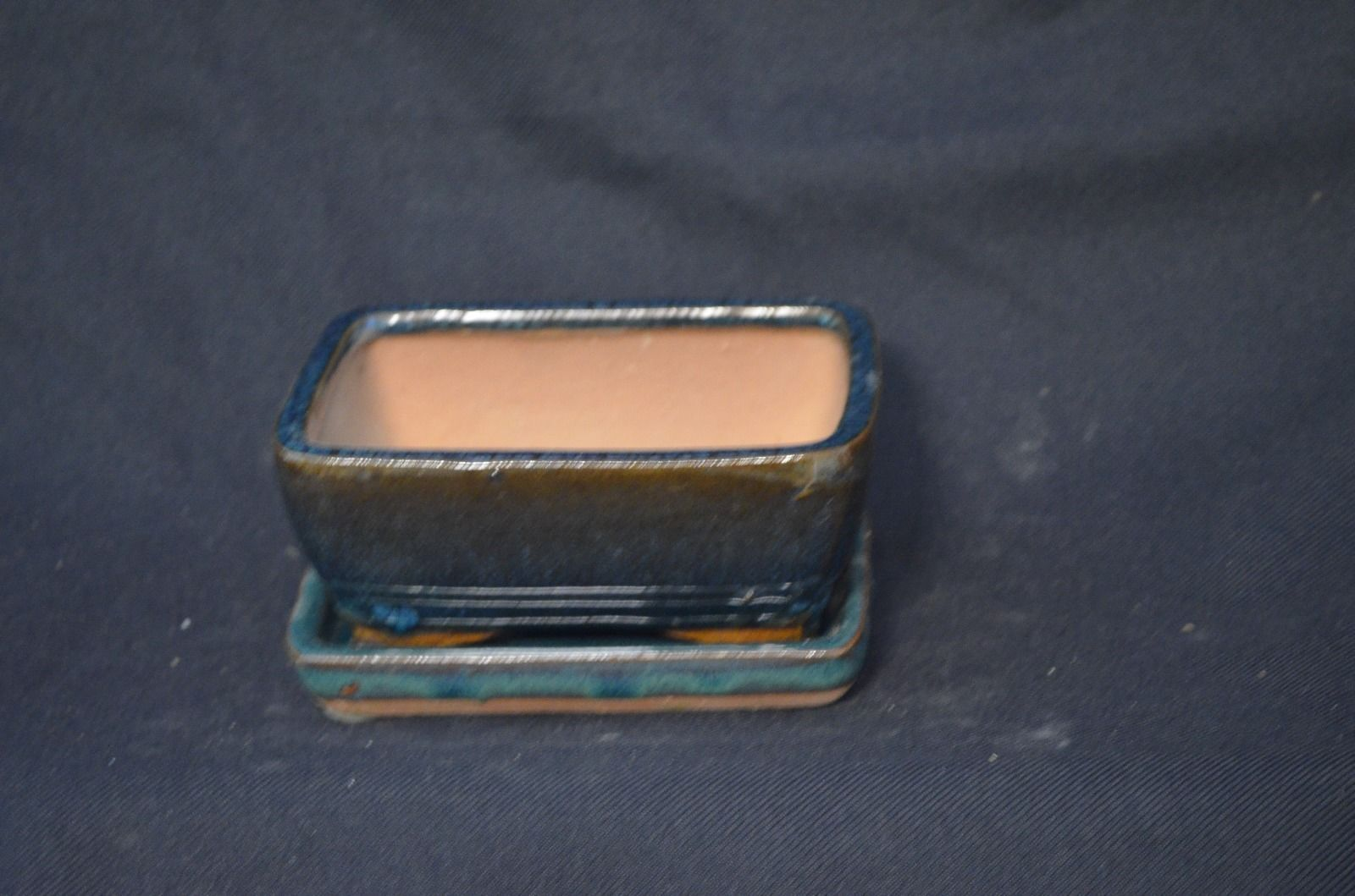 hard to find! oval green 7 pot set Bonsai pot with matching ceramic tray
