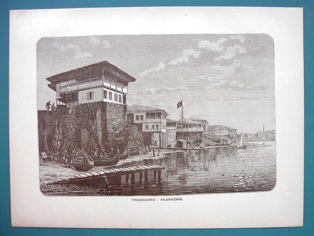 TURKEY Trebizond on Black Sea - 1887 Wood Engraving