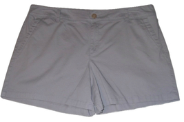 Liz Claiborne Classic Chino Womens Shorts Size 16 Gray Cotton Flat Front... - $14.00