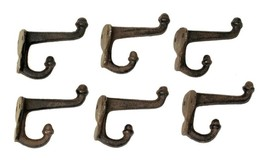 CAST IRON-  Double Acorn Hook Hanger Wall Mount Set of 6 Rustic Brown - $17.81