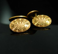 Victorian Engravable Cufflinks antique gold CuffLinks personalized gift ... - $175.00