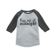 Custom Party Shop Kids Kiss Me At Midnight Happy New Year Raglan Grey 5T - $20.58