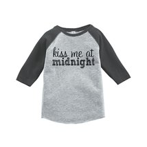 Custom Party Shop Kids Kiss Me At Midnight Happy New Year Raglan Grey 4T - $20.58