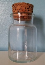 Vintage Clear Glass Apothecary Jar, Container Made in Belguim, Cork Top,... - $8.99