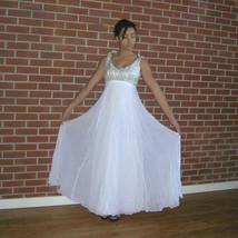 Vintage 50s Silver Lame' Silk Chiffon Evening Gown Ballroom Tango Swing Dress - $85.00