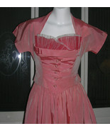 Vintage Satin Tulle Party Dress & Marching Jacket Full Sweep Halter Dres... - $165.99
